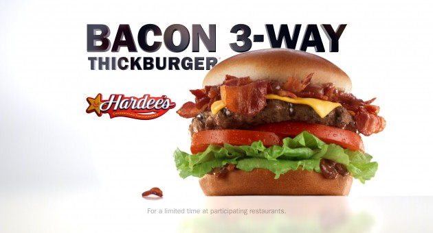 Bacon 3-Way Burger Still Billboard Hardees