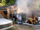 Truck fire sparks garage in Moral Township