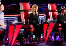 L-R: Coach Miley Cyrus, guest coaches Faith Hill & Tim McGraw; Trae Patton/NBC