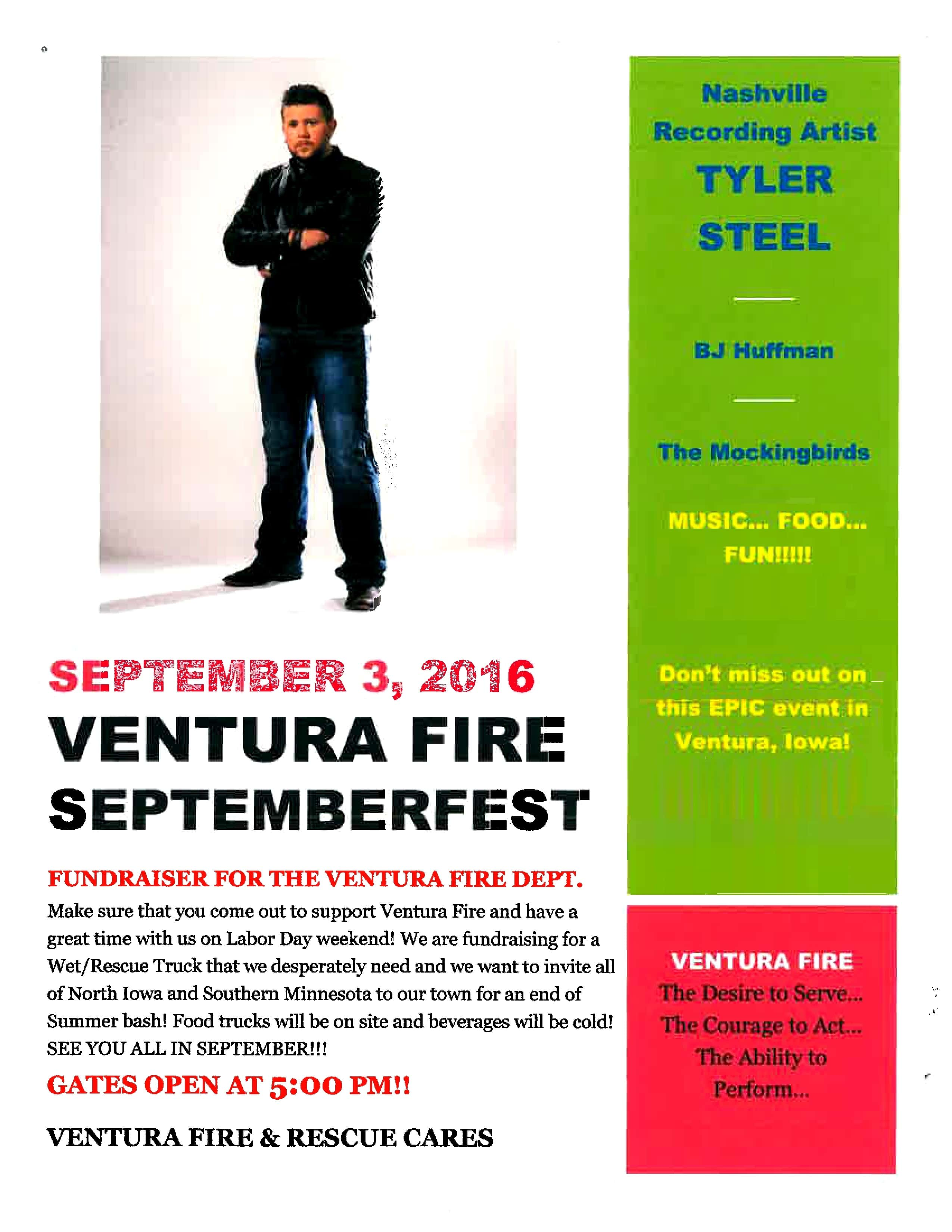 VENTURA FIRE SEPTEMBERFEST!   Discover North Iowa