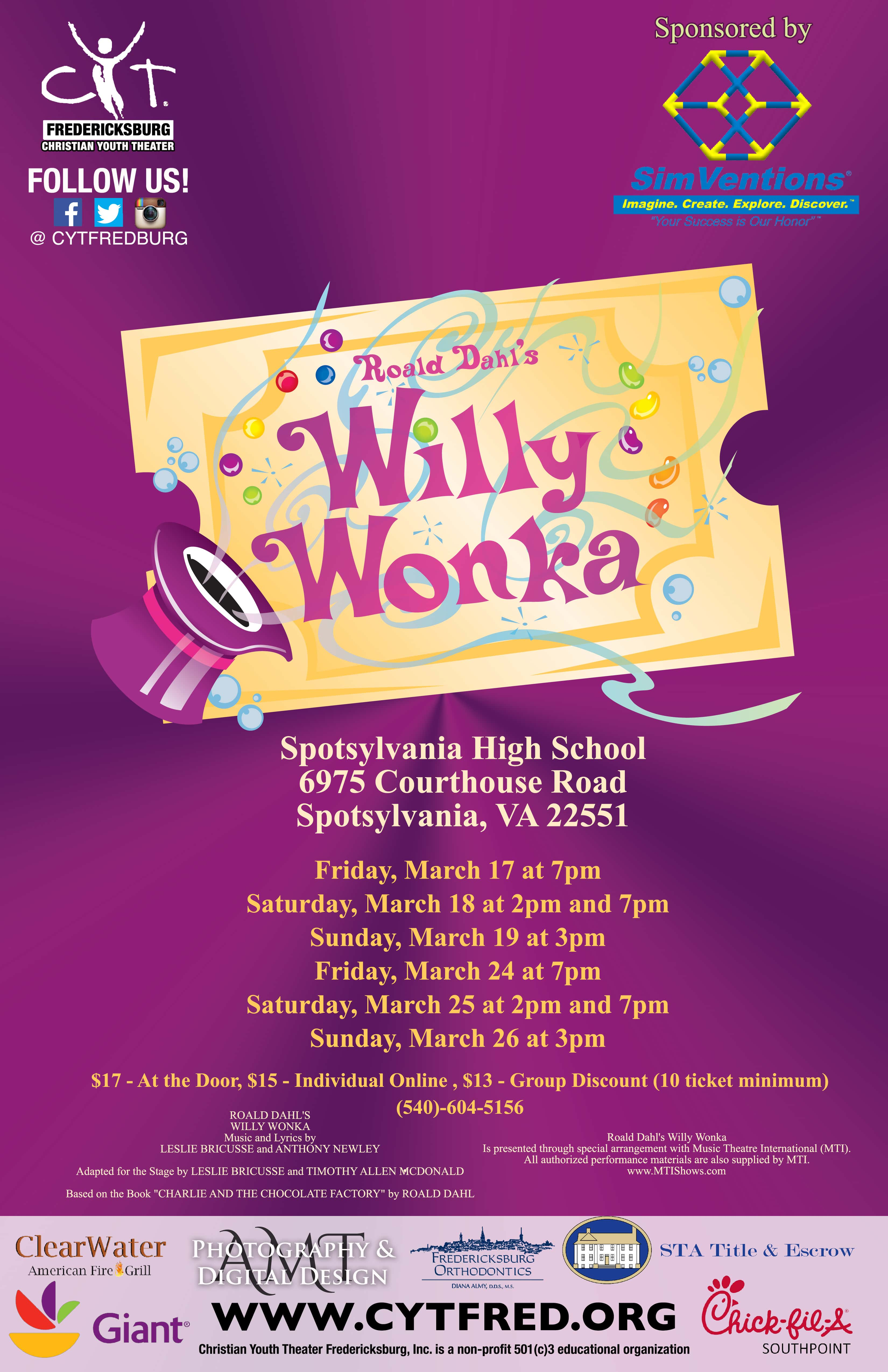 All events for CYT Fredericksburg Presents, Willy Wonka | B101.5 ...