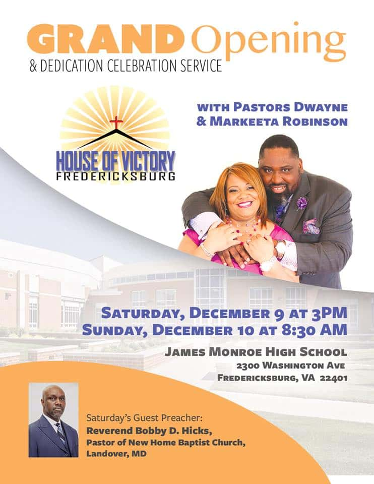 Church Grand Opening Flyer Dedication Celebration Service House Of Victory