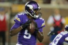 Minnesota Vikings quarterback Teddy Bridgewater looks to throw a pass during the second half of an NFL preseason football game against the Arizona Cardinals, Saturday, Aug. 16, 2014, in Minneapolis. (AP Photo/Jim Mone) ORG XMIT: MNCN1