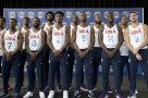 The U.S. men's Olympic basketball team poses for a photo during a news conference, Monday, June 27, 2016, in New York. (AP Photo/Mary Altaffer)
