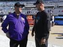 Minnesota Vikings head coach Mike Zimmer, left, and Jacksonville Jaguars head coach Gus Bradley greet each other before an NFL football game, Sunday, Dec. 11, 2016, in Jacksonville, Fla. (AP Photo/Stephen B. Morton)