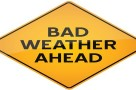 Bad weather ahead- vector warning sign