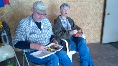 Guests eFeed The Farmer Week 1 winner Wany Ubben's son Rick & his wilfe Linda Ubben.njoy see the farmer food from Sparky's one stop in Jefferson Iowa!