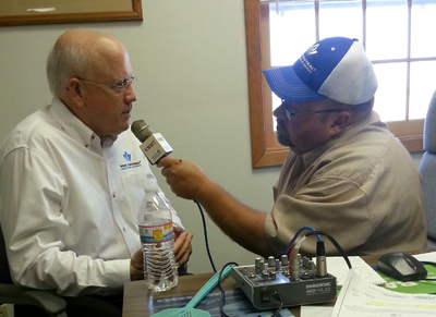 Duane @ West Central Cooperative in Gowrie talking with West Central CEO, Milan Kucerak about a possible merger with FC Cooperative.