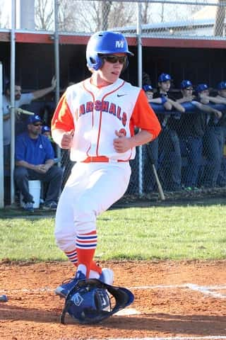 Chase Bright crossed the plate in the first inning to score the first run of the season for the Marshals.