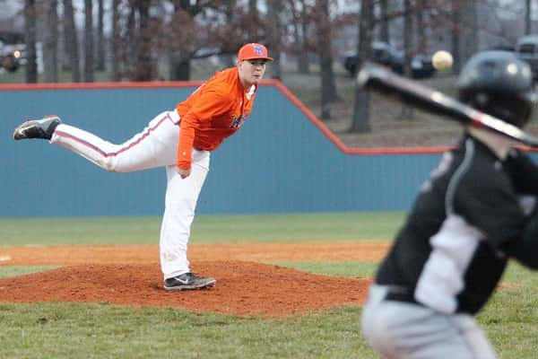 Cody Clark was on the mound for the Marshals in the 6th inning in their 7-0 win over Mayfield.