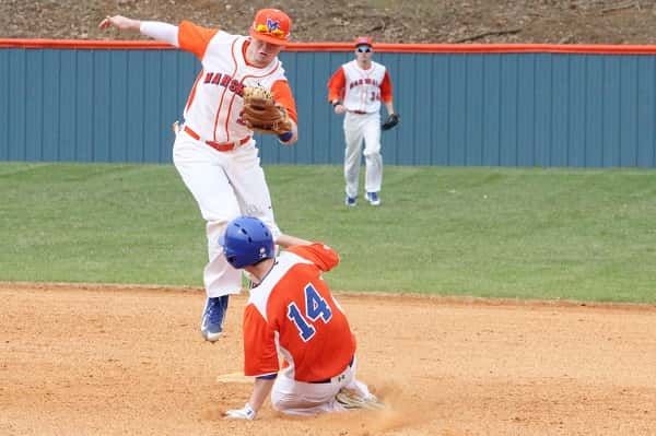 Mason Wooten with the tag in the Marshals Big Orange Classic win over Clayton, Mo.