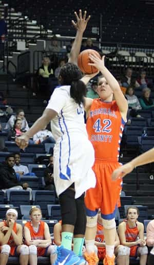 Hannah Langhi sank this shot on her way to a double-double 10 points and 10 rebounds.