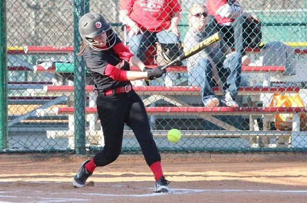 CFS catcher, Amber Shelley, led off with a single against Mayfield in the Lady Eagles 17-1 win.