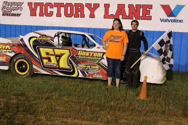 Keaton Downing of Gilbertsville, Ky., poses with KLMS trophy girl Hannah Morrison after his first-ever KLMS victory.