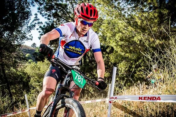 Carson Beckett racing at the USA Cycling US Cup Bonelli Park ProXCT race in San Dimas, CA.