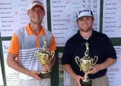 D.J. Pigg (left) and Patrick Newcomb following their Junior and Pro wins at Drake Creek.