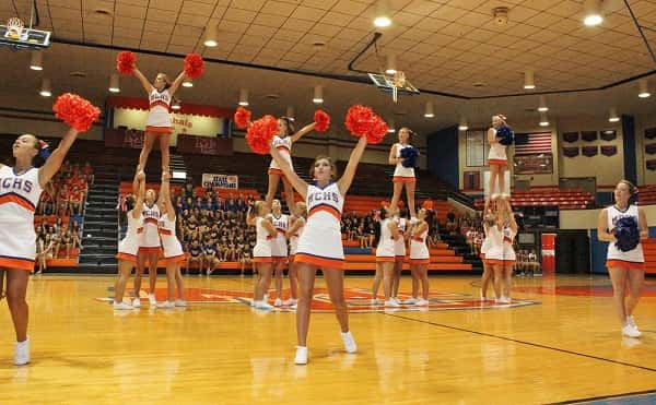 The MCHS Cheerleaders got the crowd in the spirit with a performance to kick off Meet the Marshals.