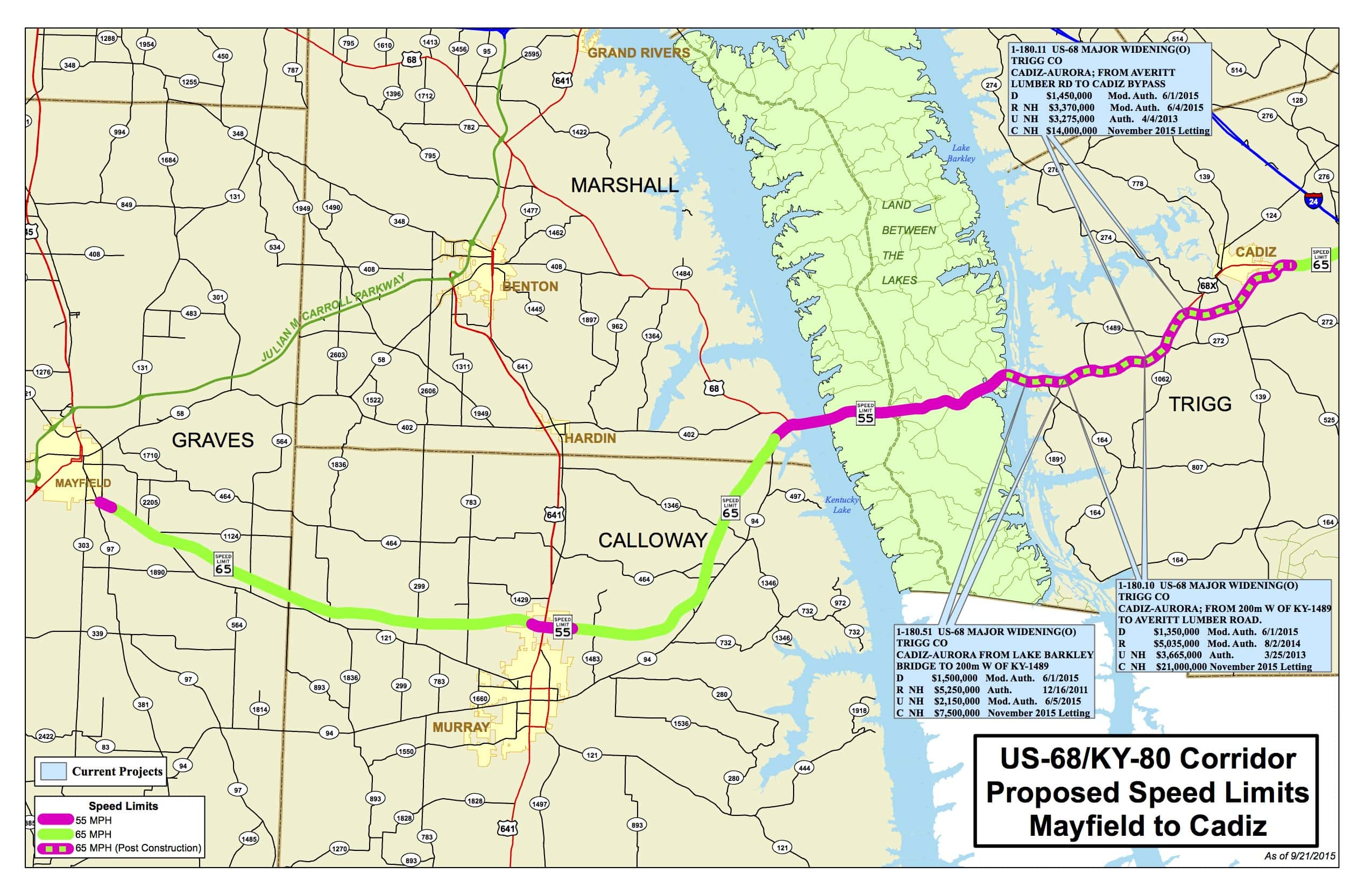 Gov Beshear Announces Plan To Complete Widening Of US KY - Us 68 map