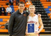 Marshals Head Coach Gus Gillespie presented D.J. Pigg with a plaque recognizing his 1,000th point milestone.