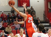 Dawson Jolley rises above the Calloway defenders for a basket in the Marshals 56-48 win over the Lakers.