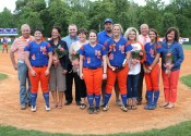 The seniors were recognized before the Lady Marshals and Lady Tigers took the field.