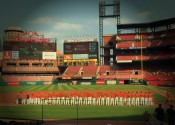 The Marshals on the field at Busch Stadium for the National Anthem before last season game Notre Dame of Cape Girardeau.
