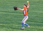 Right-fielder MacKenzie Harper earlier this season, made a leaping catch at the fence to save the Lady Marshals win over 17th ranked Christian County.