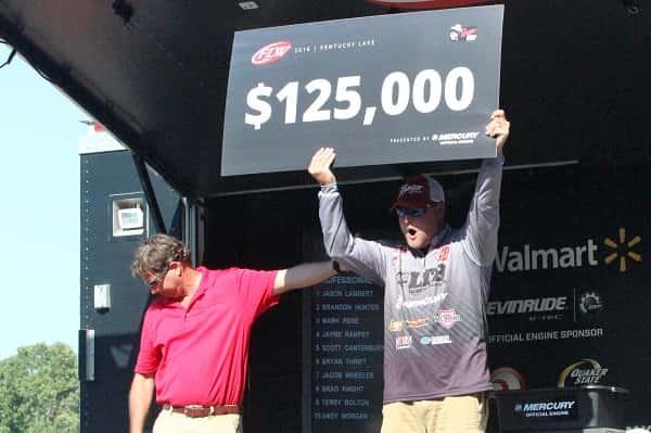 Jason Lambert of Pickwick Dam, TN celebrates his FLW Tour on Kentucky Lake win.