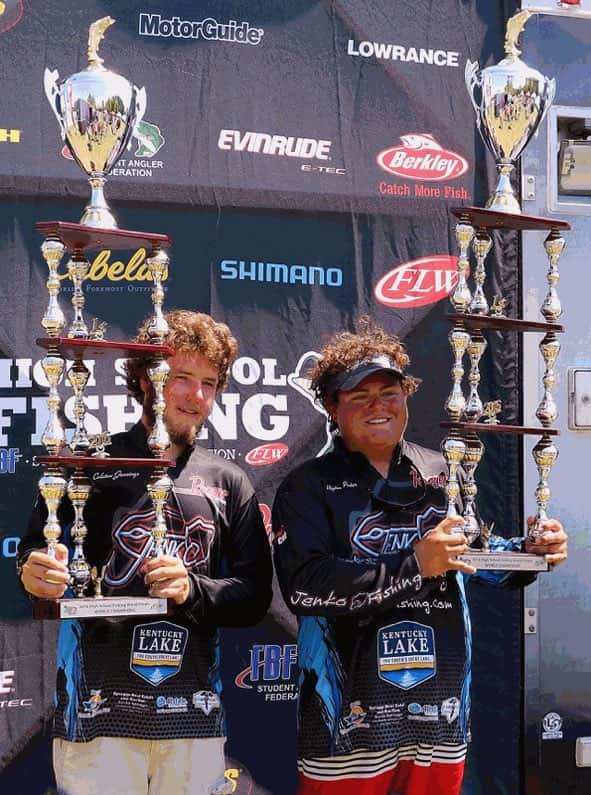 Coleton Jennings (left) and Peyton Porter show off their hardware after winning the 2016 High School Fishing World Finals.
