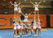 Marshall County High School cheerleaders performing their Extreme Routine during Friday's UCA Camp competition.