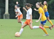 Kayla Travis scored 4 of the Lady Marshals 10 goals in their season opening win over St. Mary.