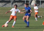 Kayla Travis scored three of the four Lady Marshal goals in their 8-4 loss to Graves County.