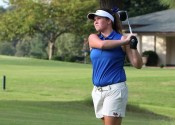Savannah Howell on the 8th hole tee box at Benton Country Club, led the Lady Marshals with 41.