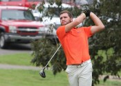 Garrett Howell on the 8th tee last week at Benton, shot 79 Saturday in the Owensboro Catholic Invitational.