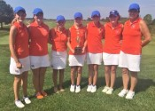The Lady Marshals following their 3rd place finish (L-R) Megan Hertter, Savannah Howell, Kennadi Spraggs, Hallie Riley, Sydney Phillips, Karissa Jordan and Coach Stephanie Fisk.