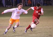 Caleb McNeely dribbles the ball away from Calloway defender Will Benson.