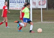Kayla Travis taking a shot in the Lady Marshals 2-1 win over Calloway County.