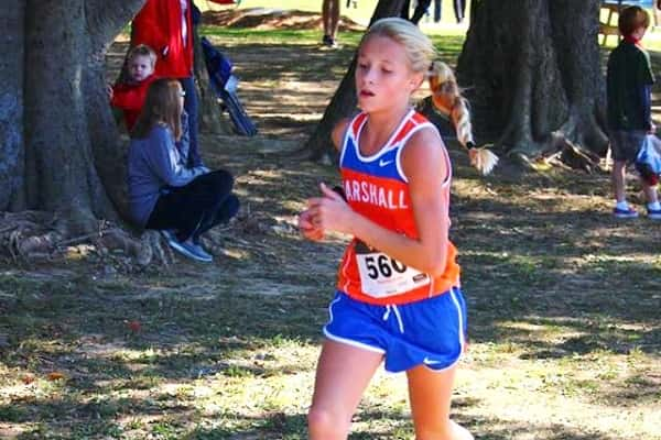 Middle School runner Alexia Minter ran in her first varsity race at Fast Cats and turned in the second fastest time for Marshall County. Photo by MCHS XC