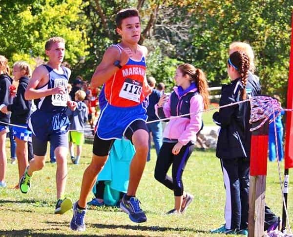 Mason Cosner turned in the second best time of the meet for the Marshall County boy's team. Photo by MCHS XC