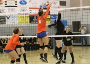Paige Henson (8) timed this block perfectly against Murray in the Lady Marshals 3-0 district tournament semi-final win.