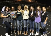 Lady Marshall All-Region Team selections (L-R) Allie Fiske, Kayla Travis, Camryn Crass, Kylee Crass, Carmen Gunn, Sofia Bayer and Loralei Samson.