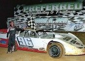 Tanner English in Victory Lane at Duck River after winning the tune-up to the Deep Fried 75.