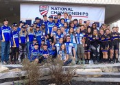 The Brevard College Cycling Team on the podium as the D1 National Champions. Second place went to Fort Lewis (Durango, CO) and third place to Marian University (Indianapolis, IN).