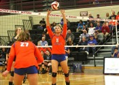 Paige Henson sets up Hannah Langhi in the Lady Marshals 3-1 win over Graves County in Wednesday's 1st Region semi-final game.