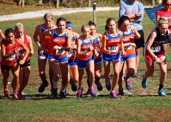 The Marshall County girl's team at the start of their 5K event at Regionals.