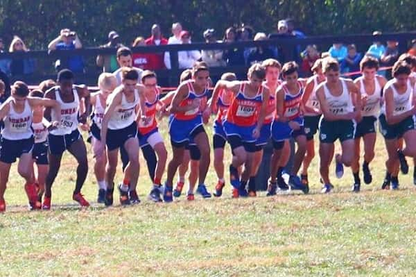 The Marshall County boy's team at the start of Saturday's Class 3A KHSAA State Championships. Photos courtesy of MCHS Cross Country.