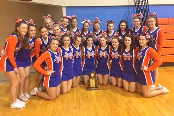 The Marshall County cheerleaders took first in the Region 1 All Girls Large division at Saturday's Region 1 competition held at Marshall County High School.