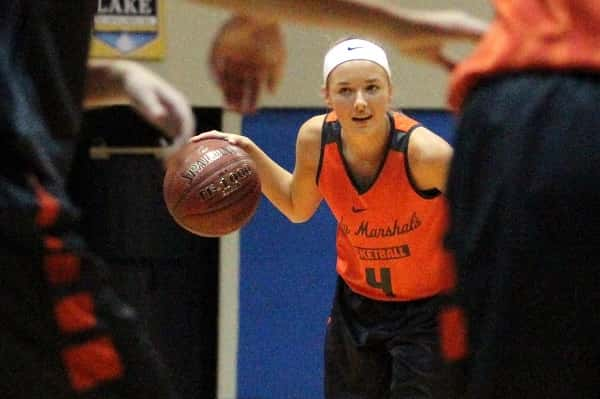 Chloe Greer with the ball during the Lady Marshals scrimmage at last week's Meet the Marshals.