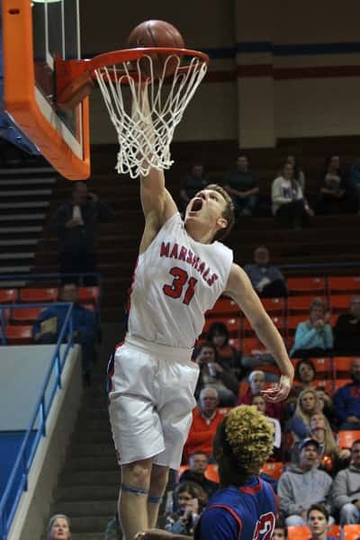 Dylan Walters easily drops in this basket in the Marshals win over Massac County in the first night of the Marshall County Hoopfest.