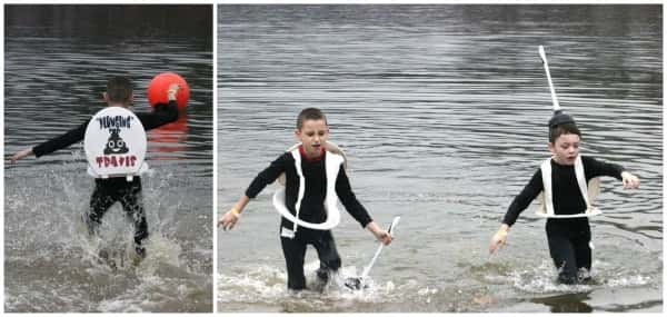 """Group costume winners, Kash Heath and Kasen Lewzader leave the chilly waters after """"Plunging for Travis""""."""